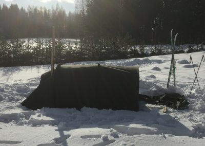 Hawu Tunnelista saa päädyn kokonaan irti, jolloin teltta muistuttaa laavua